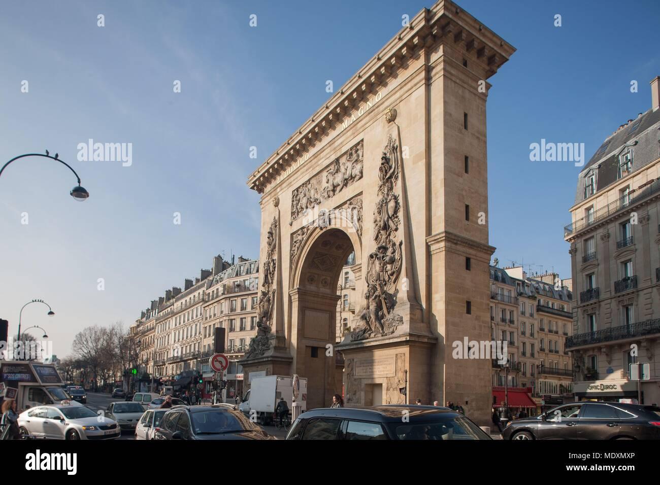 Paris, Porte Saint Denis, boulevard, Banque D'Images