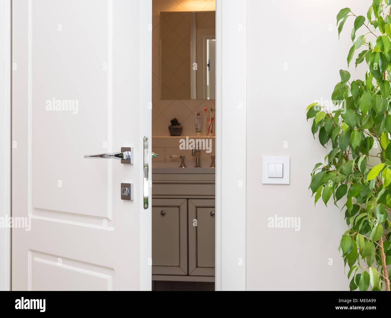 Plante Pour Salle De Bain Sombre ajar porte blanche dans une sombre salle de bains