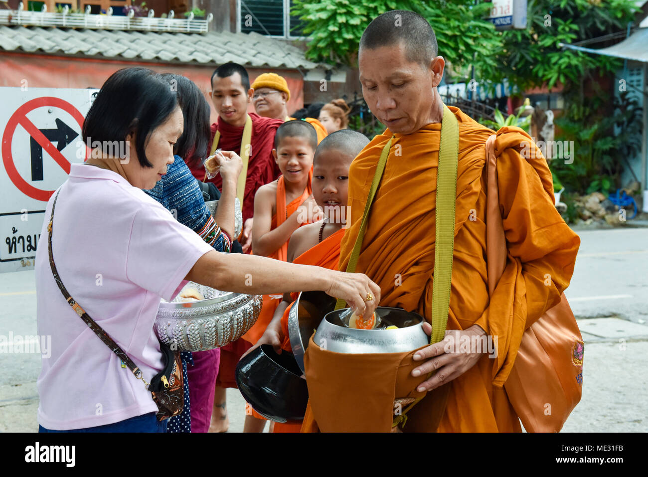 Monks , Pai, le nord de la Thaïlande Photo Stock