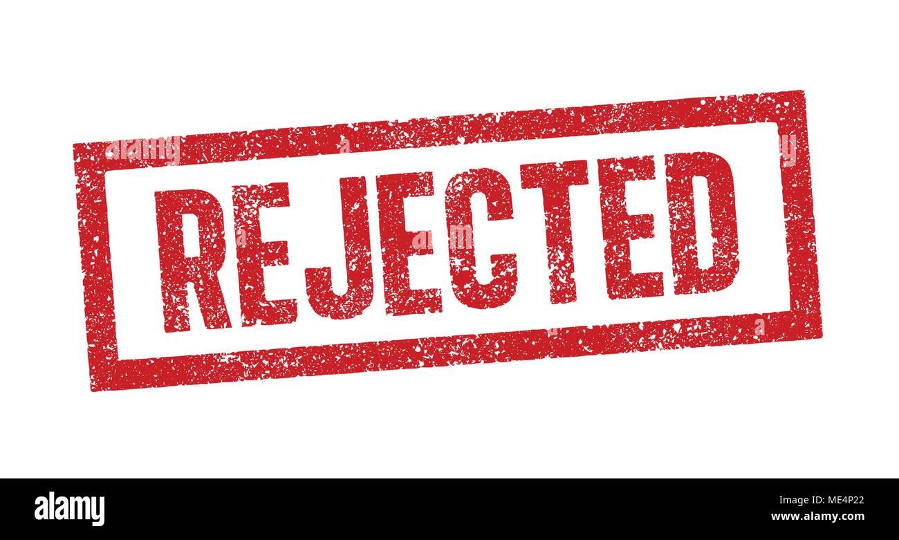 Vector illustration du mot rejeté dans l'encre rouge stamp Photo Stock