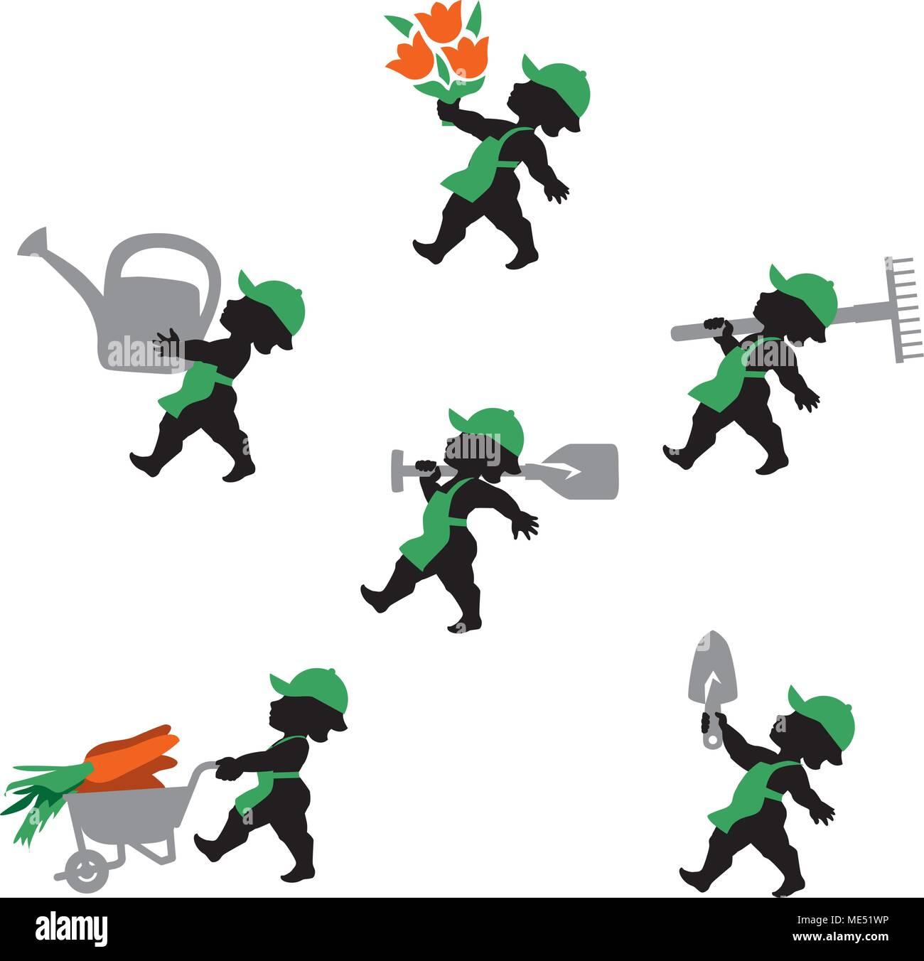 Vector illustration de jardinier. Icons set de jardiniers ...