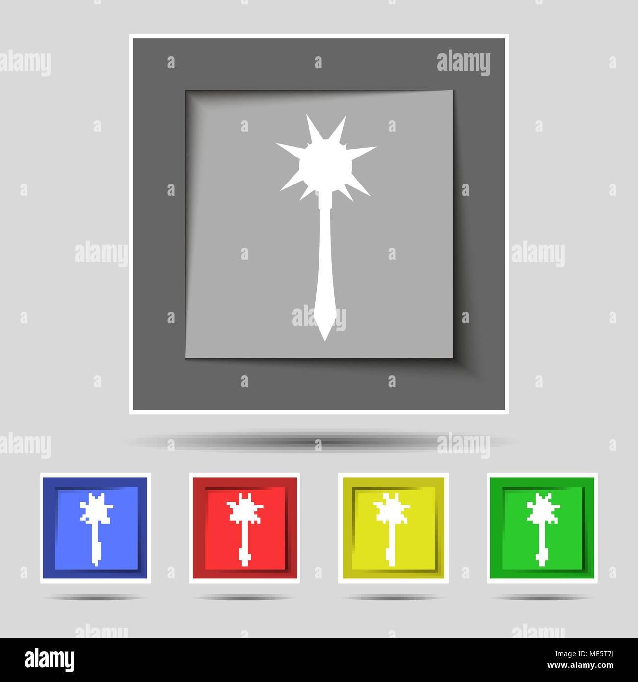 Mace signe sur l'icône original de cinq boutons de couleur. Vector illustration Illustration de Vecteur