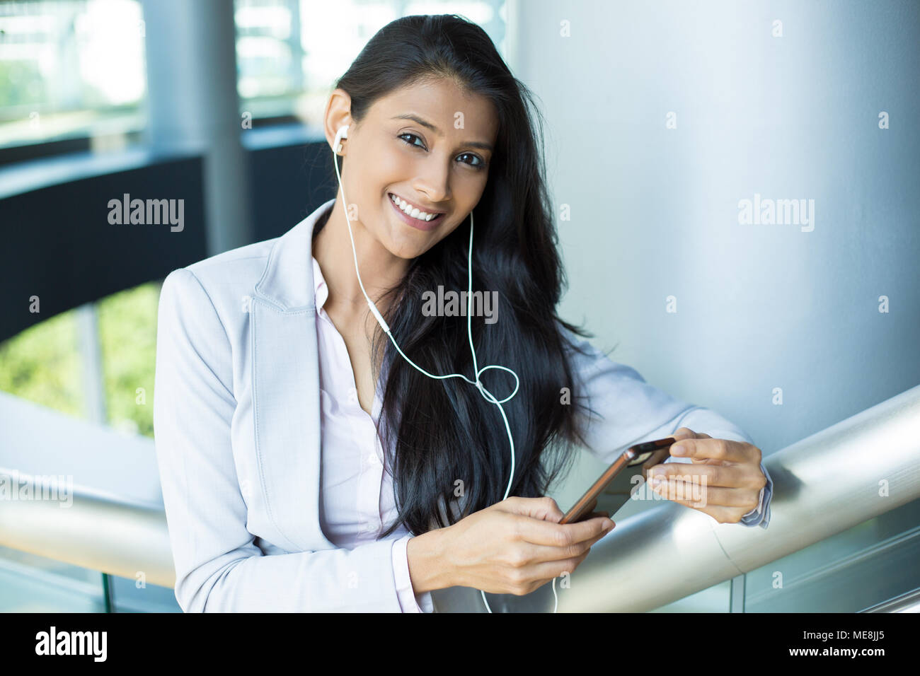 Closeup portrait young happy business woman in dress costume