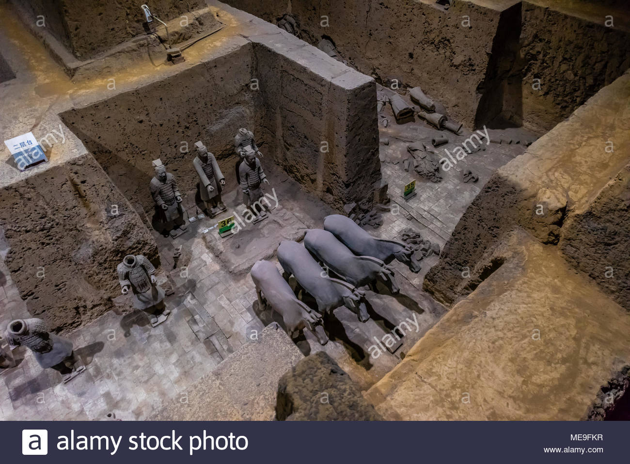 Vault 3 puits d'excavation où le travail est toujours en cours à l'Armée de terre cuite de l'empereur Qin Shi Huang, le premier empereur de Chine. L'armée a été enterré w Photo Stock
