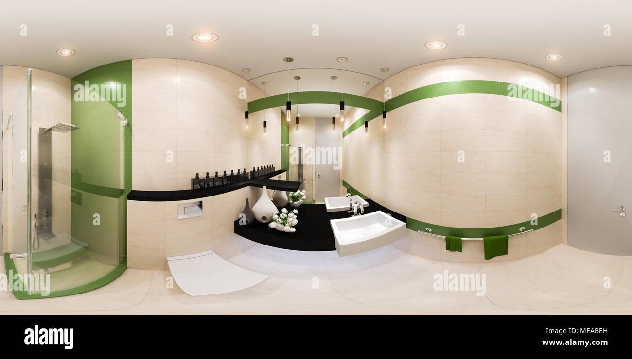 Panorama Conception Intérieure Du0027une Salle De Bains De Style Moderne. 360  Degrés Panoramique Transparente 3d Illustration En Vert Et Beige. 3D Render