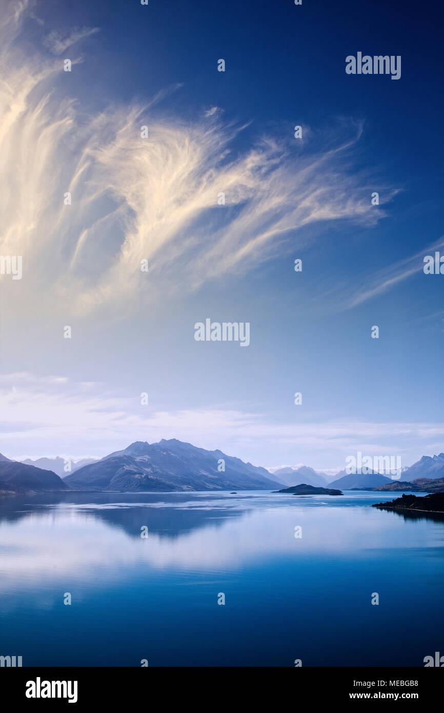 Le Lac Wakatipu près de Glenorchy, île du Sud, Nouvelle-Zélande. Photo Stock