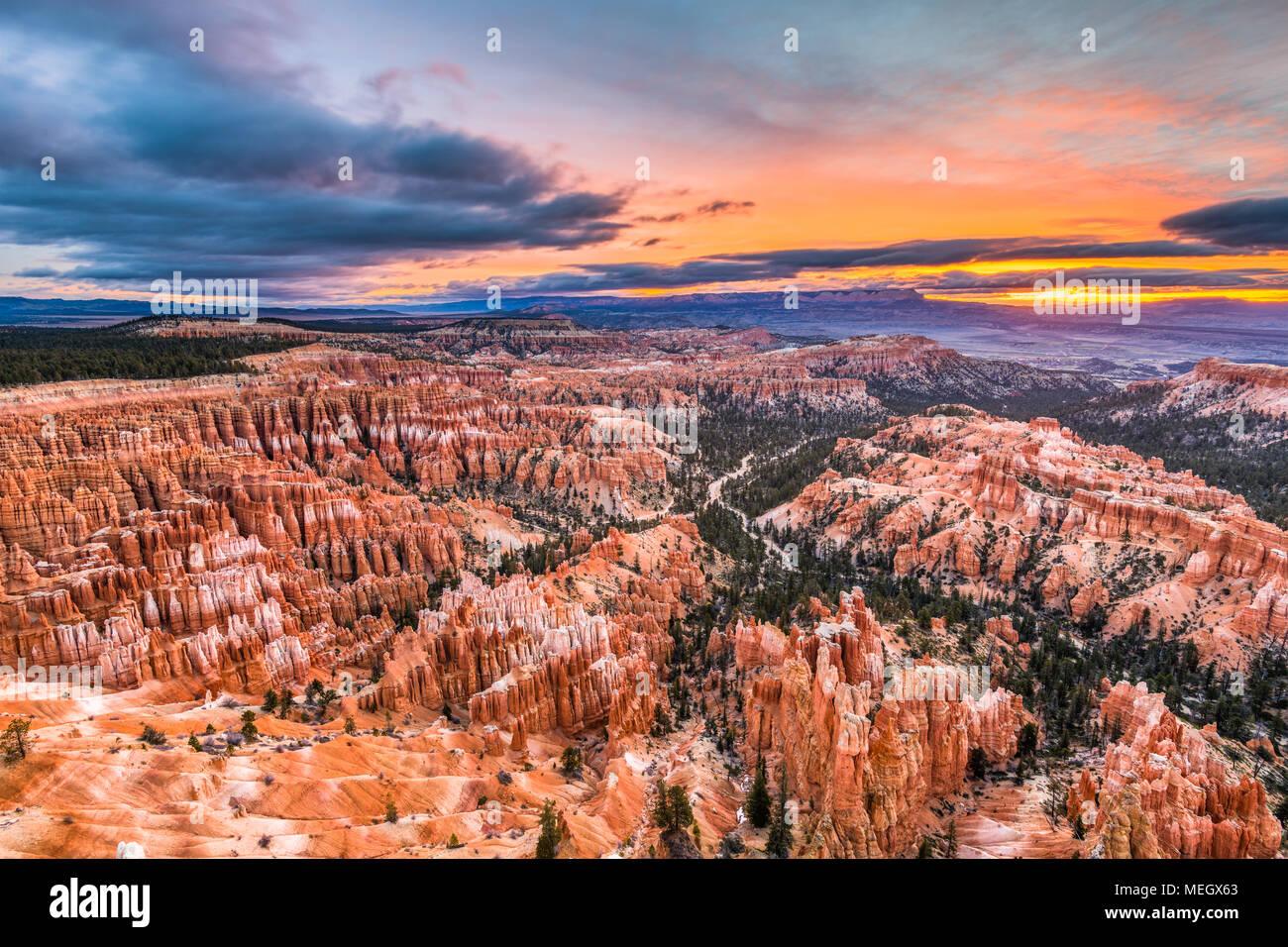 Bryce Canyon National Park, Utah, USA à l'aube. Banque D'Images