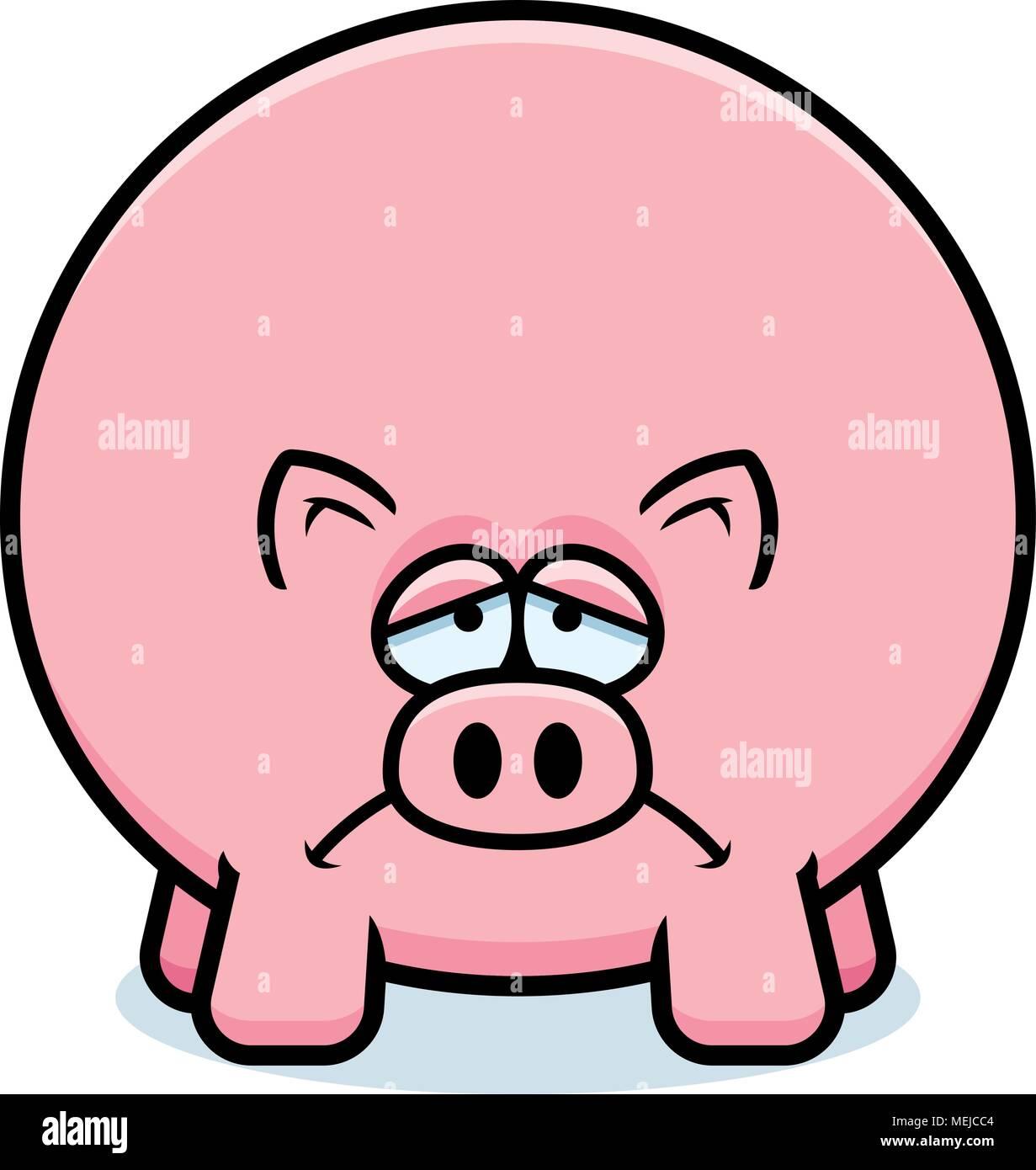 Illustration D Un Dessin D Un Cochon à La Triste Vecteurs Et