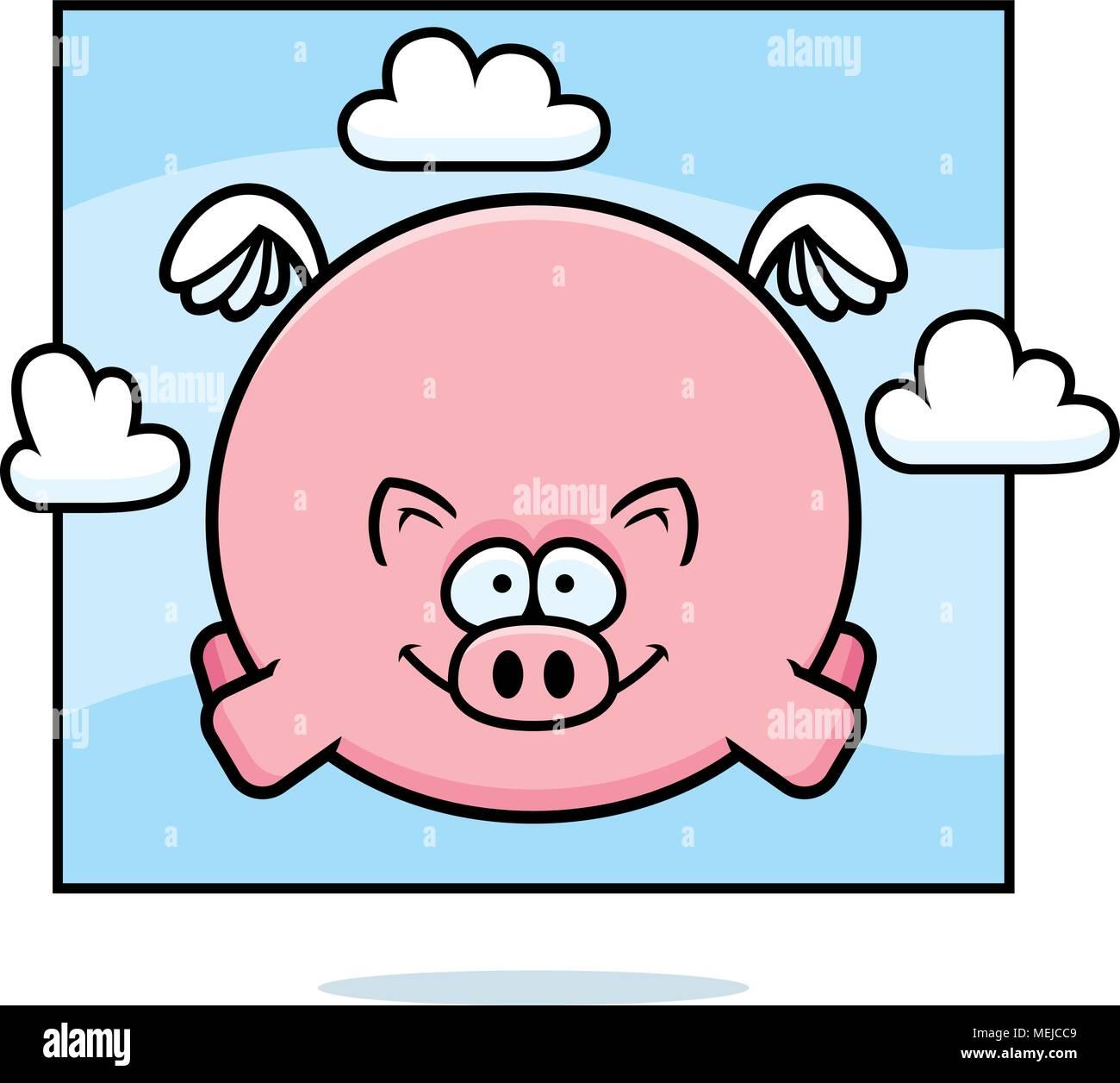 Illustration D Un Dessin D Un Cochon Volant Dans Le Ciel