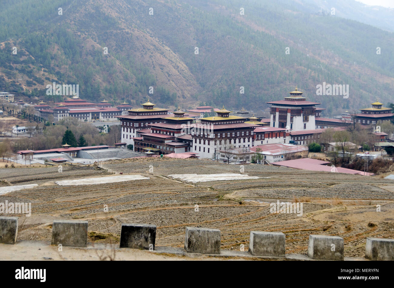 Tashichho Dzong, et l'Assemblée nationale du Bhoutan, Thimphu, Bhoutan Photo Stock
