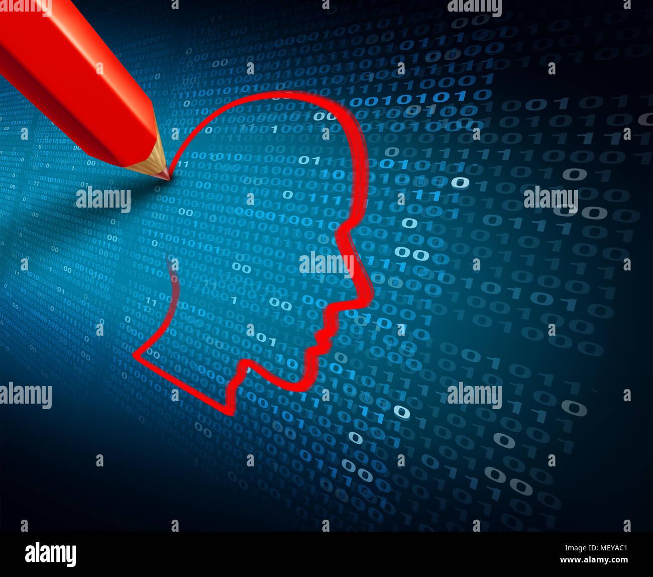 L'hameçonnage et vol de données privées hack et les renseignements personnels en tant que en tant que la cybercriminalité ou cyber crime social media concept de sécurité. Photo Stock