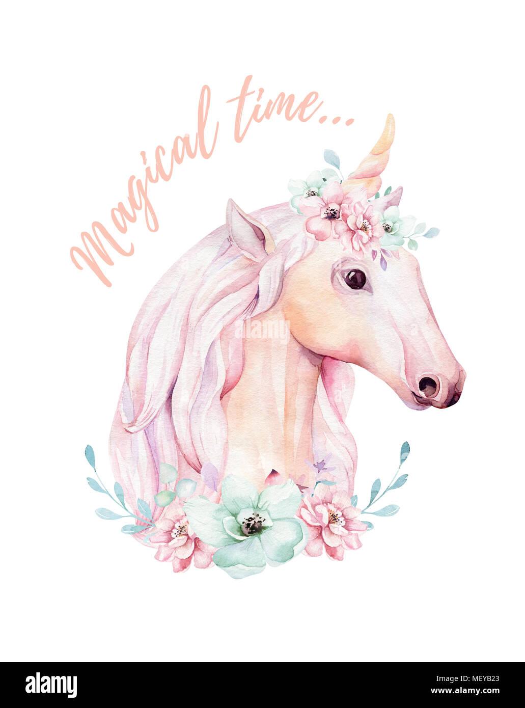 Cute isolés licornes aquarelle de fleurs. clipart Unicornsillustration en pépinière. Arc-en-ciel princesse poster. Rose à la mode cartoon pony horse. Photo Stock
