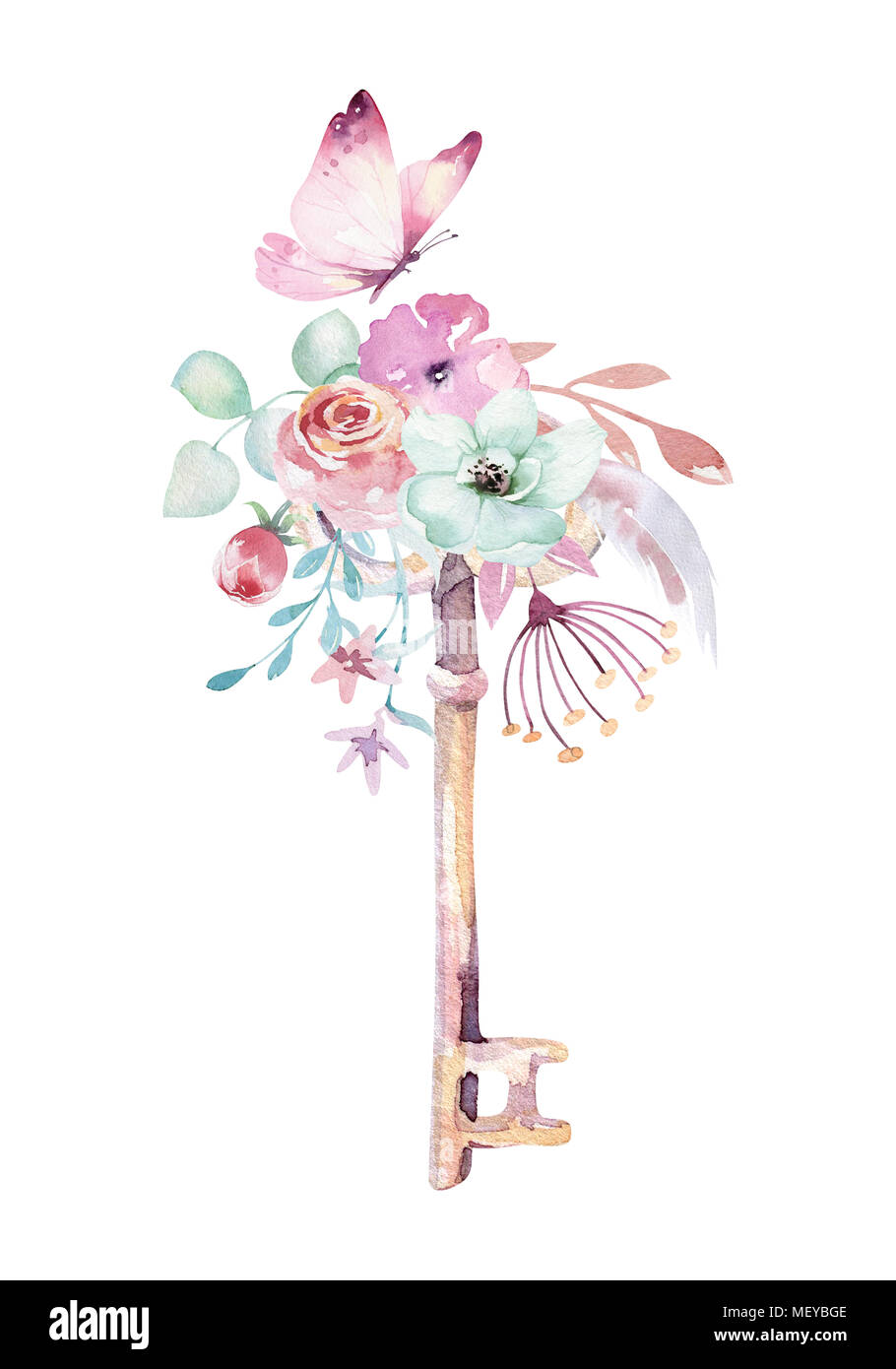 Cute touches isolées unicorn aquarelle clipart avec fleurs. Les licornes pépinière illustration clé. Arc-en-ciel princesse poster poster pink magic. Photo Stock