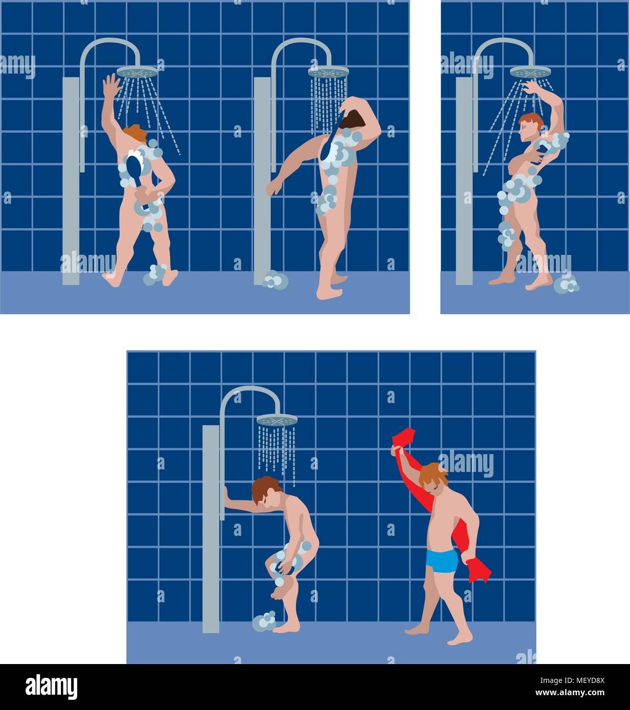 Vector illustration d'hommes de prendre une douche dans une salle de bains publics. Photo Stock