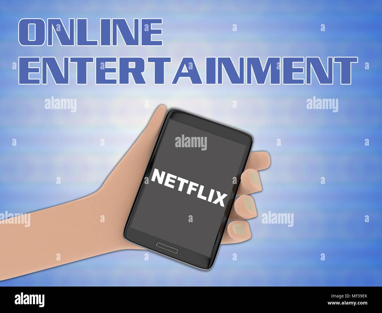 3D illustration de script Netflix sur l'écran d'un téléphone