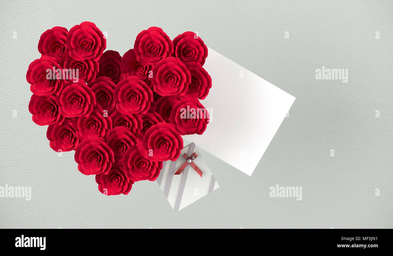 le rendu 3d de forme de coeur bouquet de roses rouges, petit cadeau