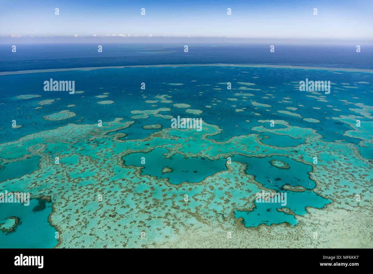 Les structures dans le Récif Extérieur, Grande Barrière de Corail, Queensland, Australie Photo Stock