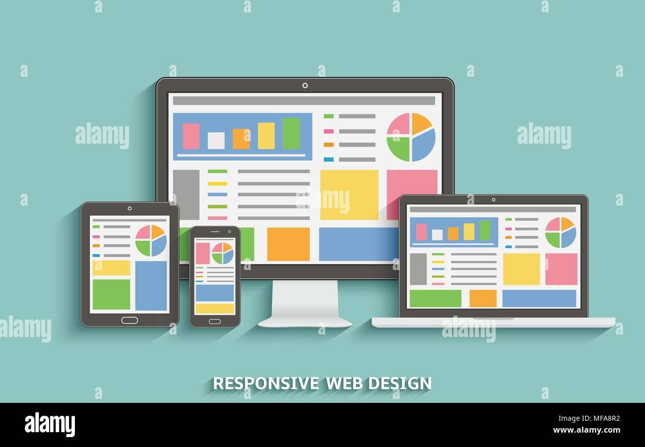 Web design réactif. La technologie de conception Web. Ordinateur portable, ordinateur de bureau, tablette et téléphone mobile. Vector EPS10. Photo Stock
