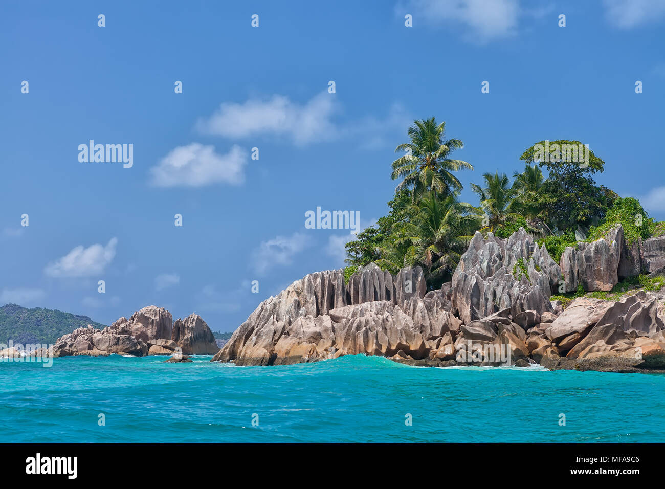 Belle Île Saint-pierre tropical, Seychelles Photo Stock