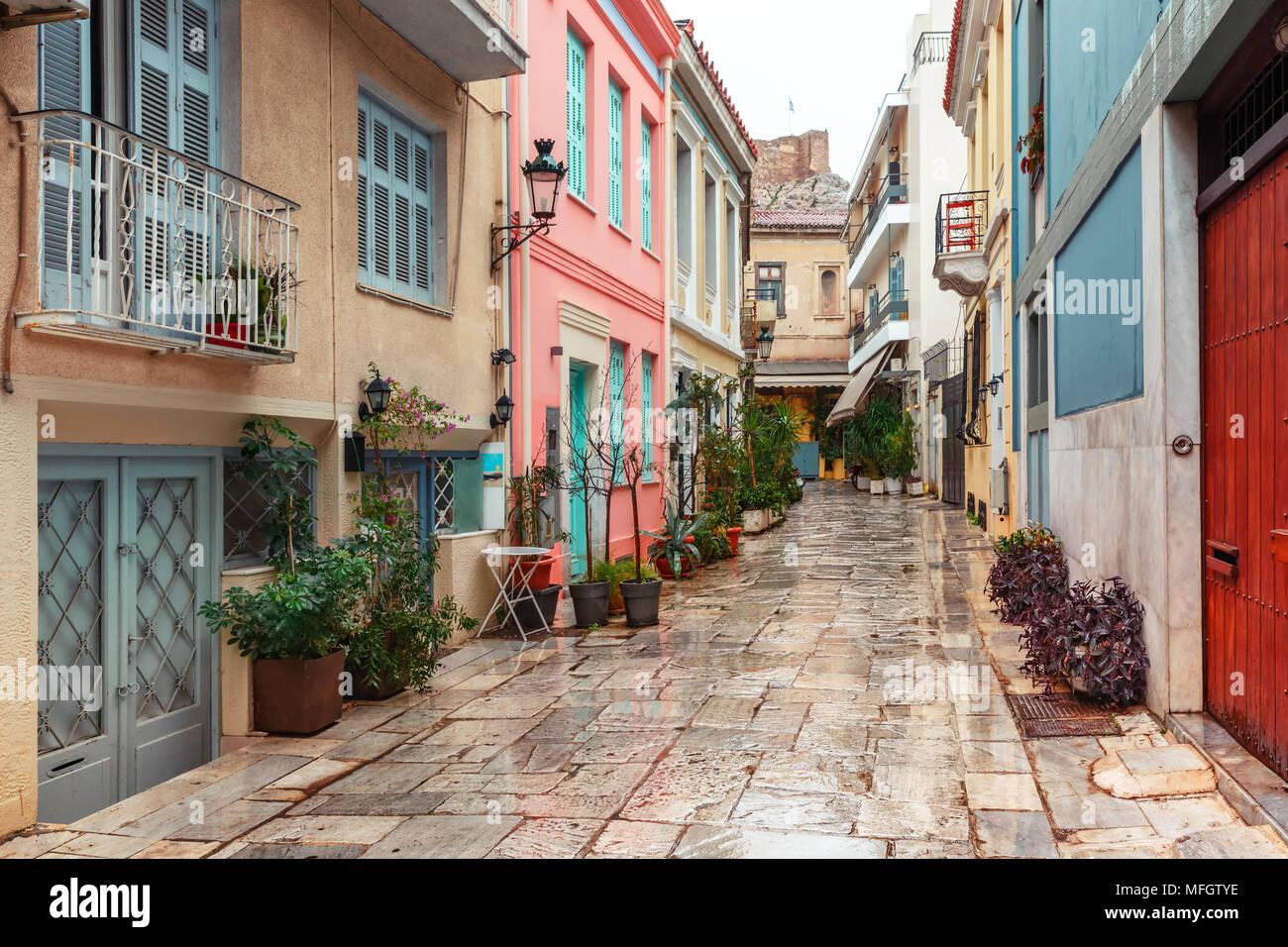 Célèbre quartier Placa à Athènes, Grèce Photo Stock