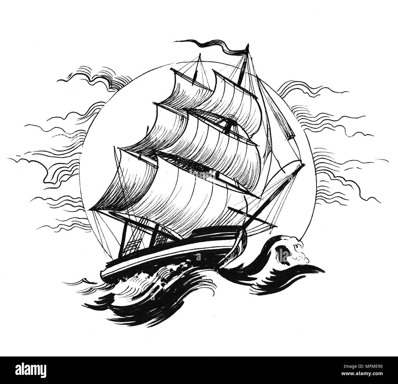 Navire A Voile En Mer Agitee Dessin Noir Et Blanc Encre Banque D