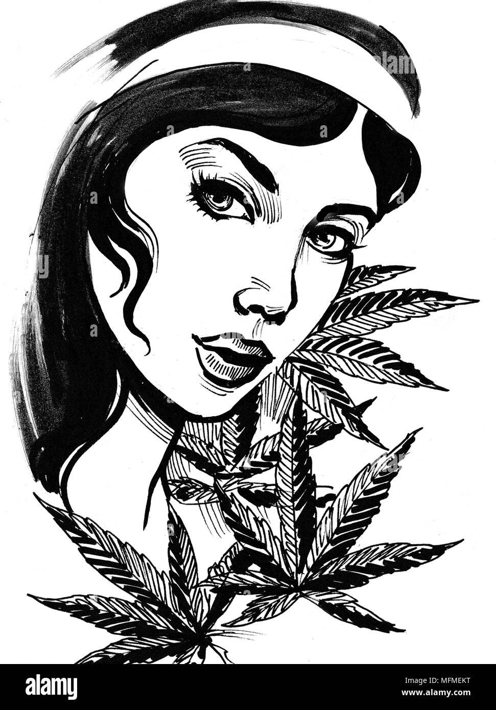 Femme Et Feuilles De Cannabis Dessin Noir Et Blanc Encre