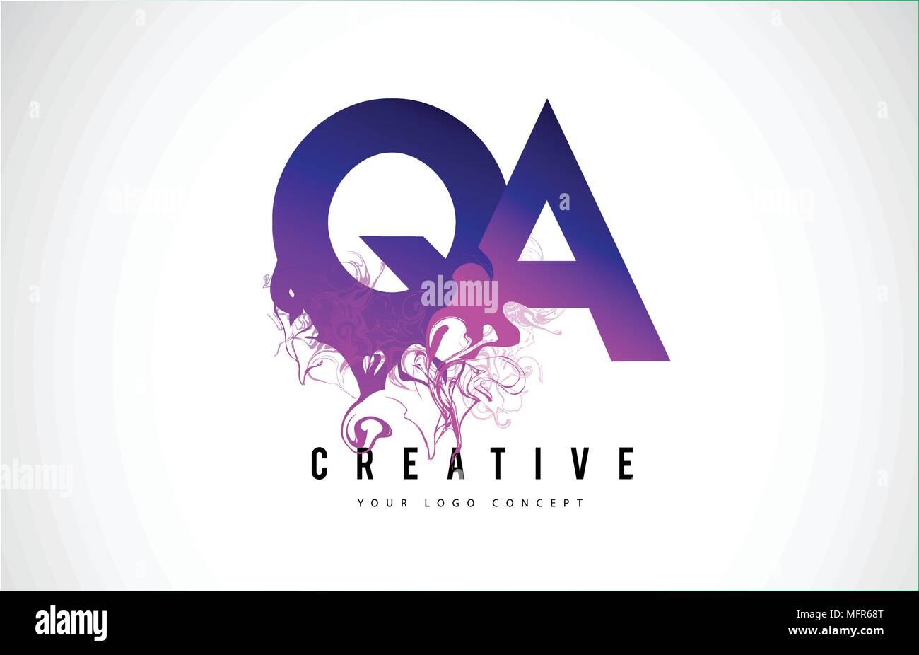 qa q'une lettre violet logo design créatif avec effet liquide vector