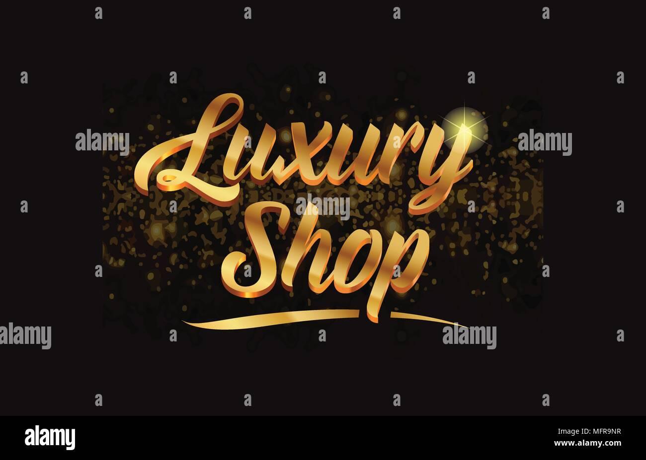 Boutique De Luxe Avec Texte Word Gold Glitter Sparkle Et Convient Pour Carte Visite Brochure Ou Typographie Logo Design