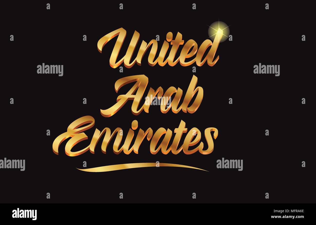 Emirats Arabes Unis Texte Word Or Avec Sparkle Glitter Et Convient Pour Carte De Visite Brochure Ou Typographie Logo Design