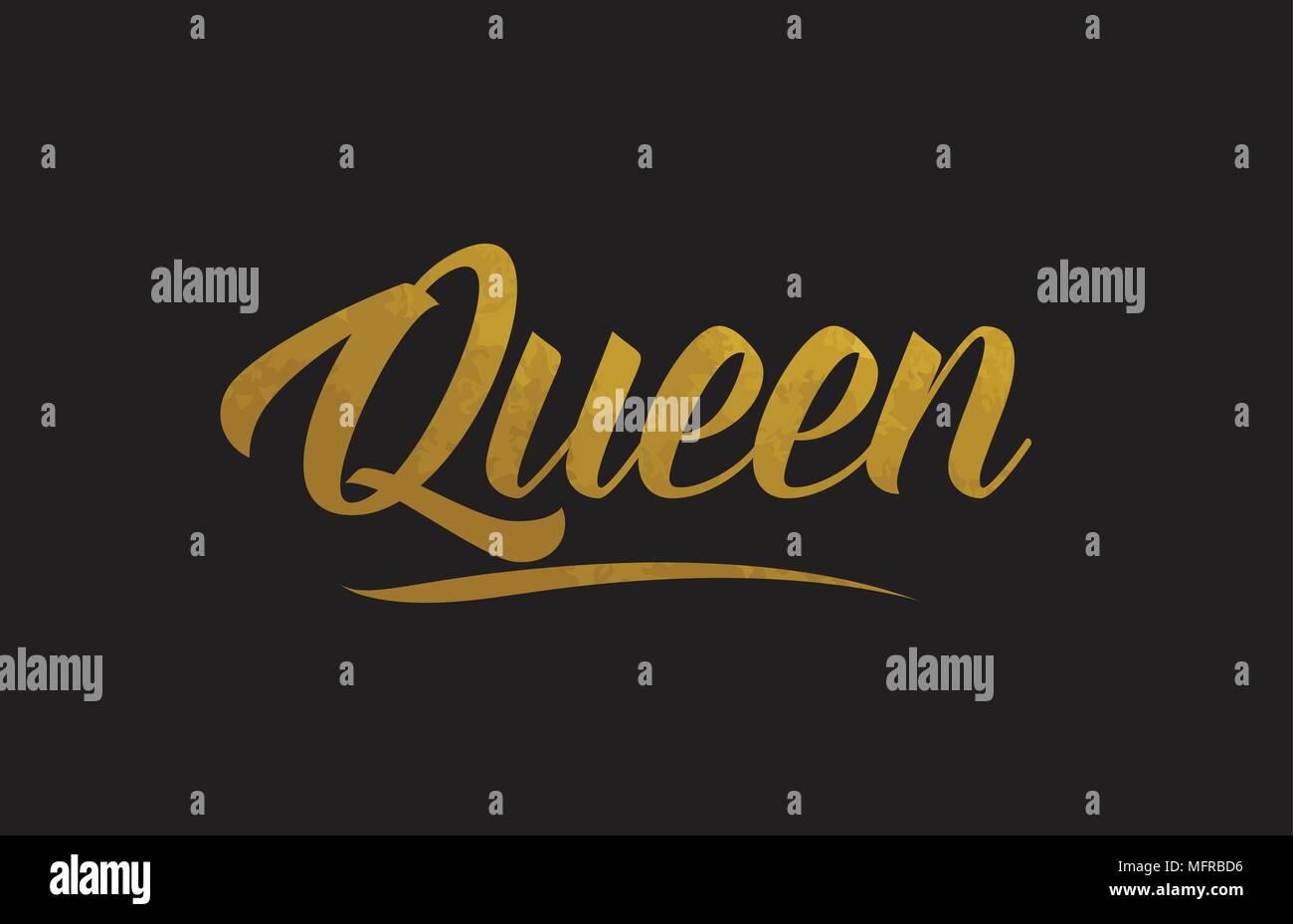 Or Queen Mot Texte Texture Convient Pour Carte De Visite Brochure Ou Typographie Design