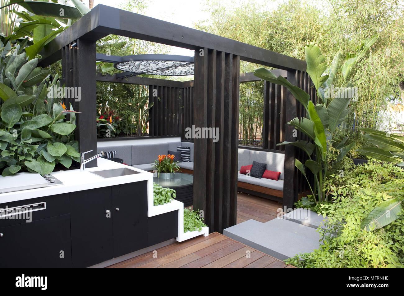 Coin Salon De Jardin Moderne Au Chelsea Flower Show Banque D