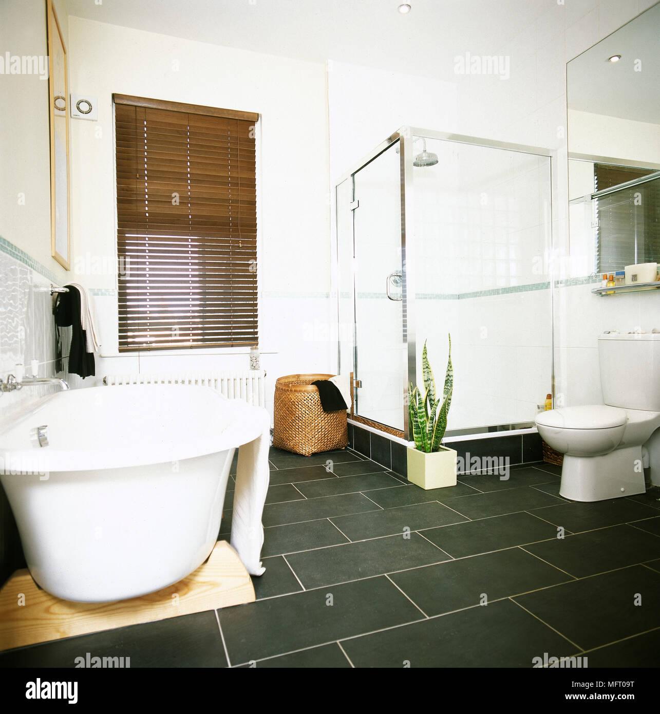 Salle de bains blanc avec baignoire sur pieds et douche séparée ...