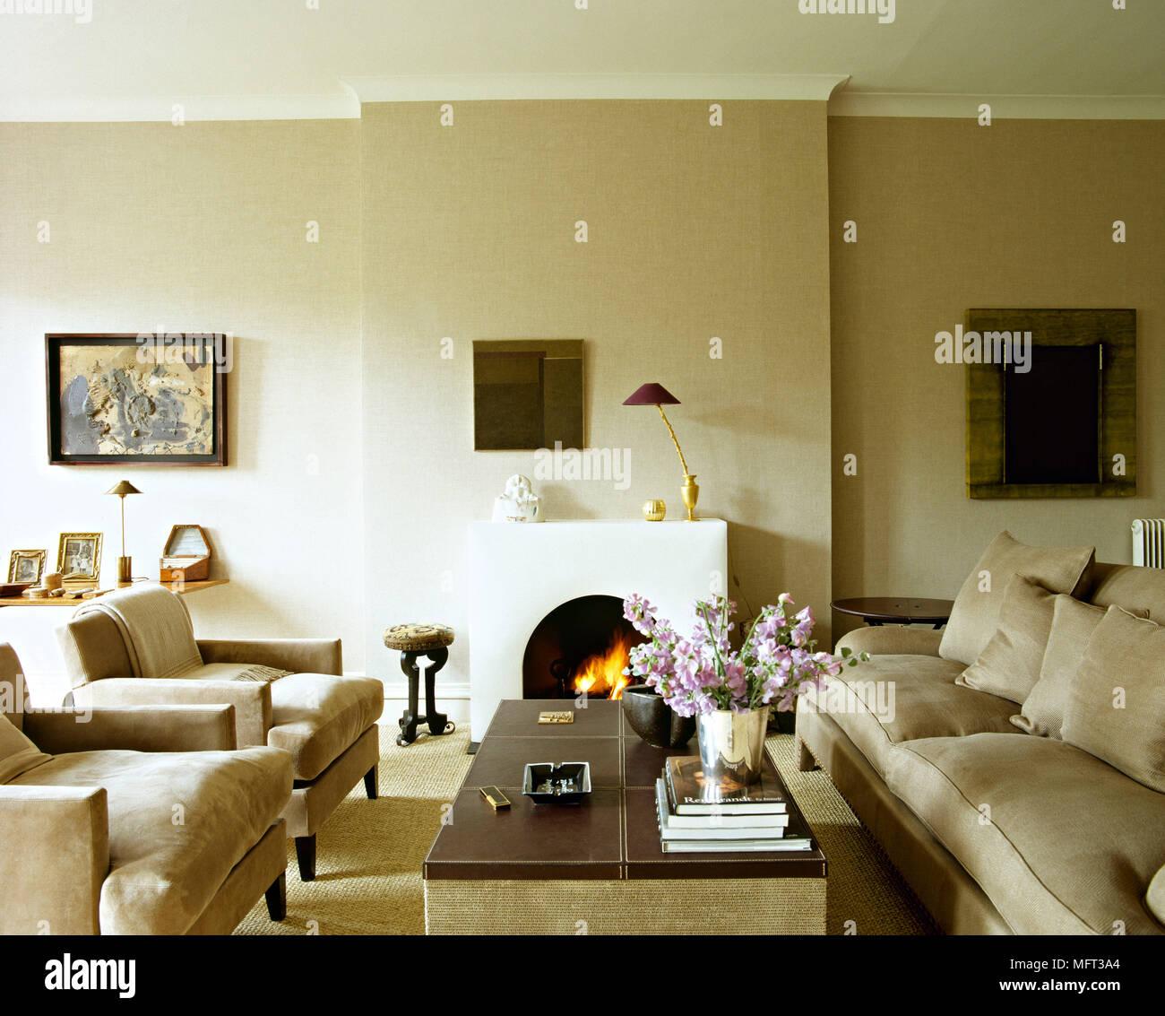 Salon neutre moderne cheminée cheminée canapé fauteuils ...