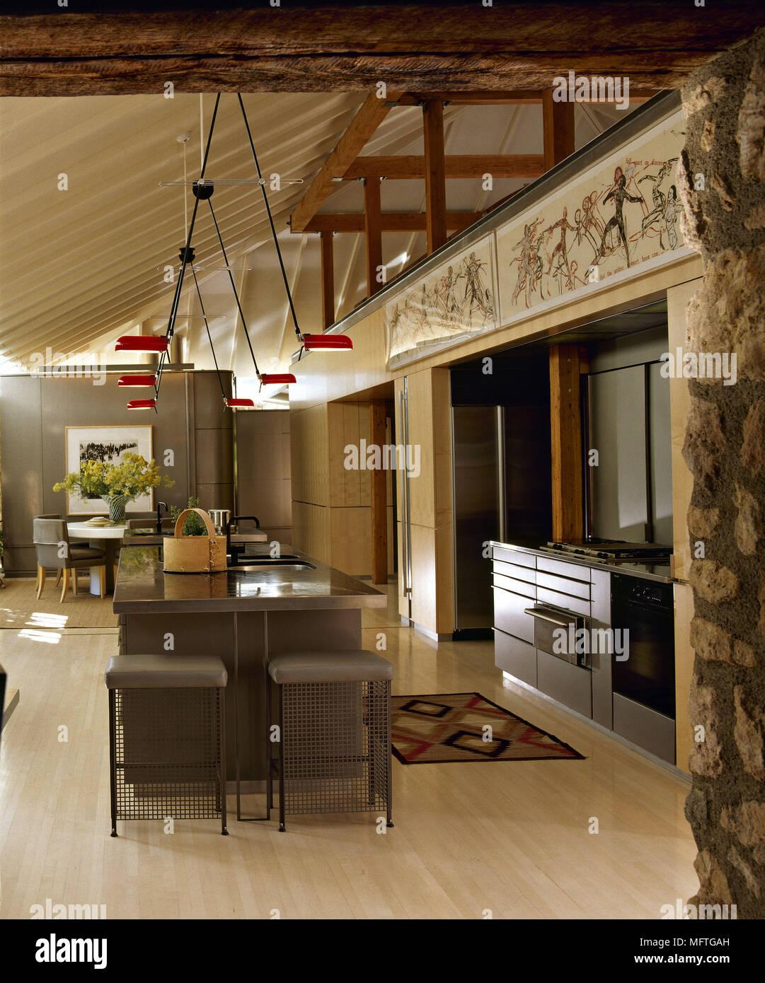 Ilot Central Pour Manger cuisine ouverte moderne et salle à manger avec îlot central