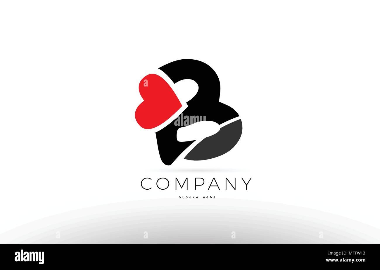 Lettre De L Alphabet D Entreprise B Logo Design Avec Amour Symbole Coeur Rouge Image Vectorielle Stock Alamy