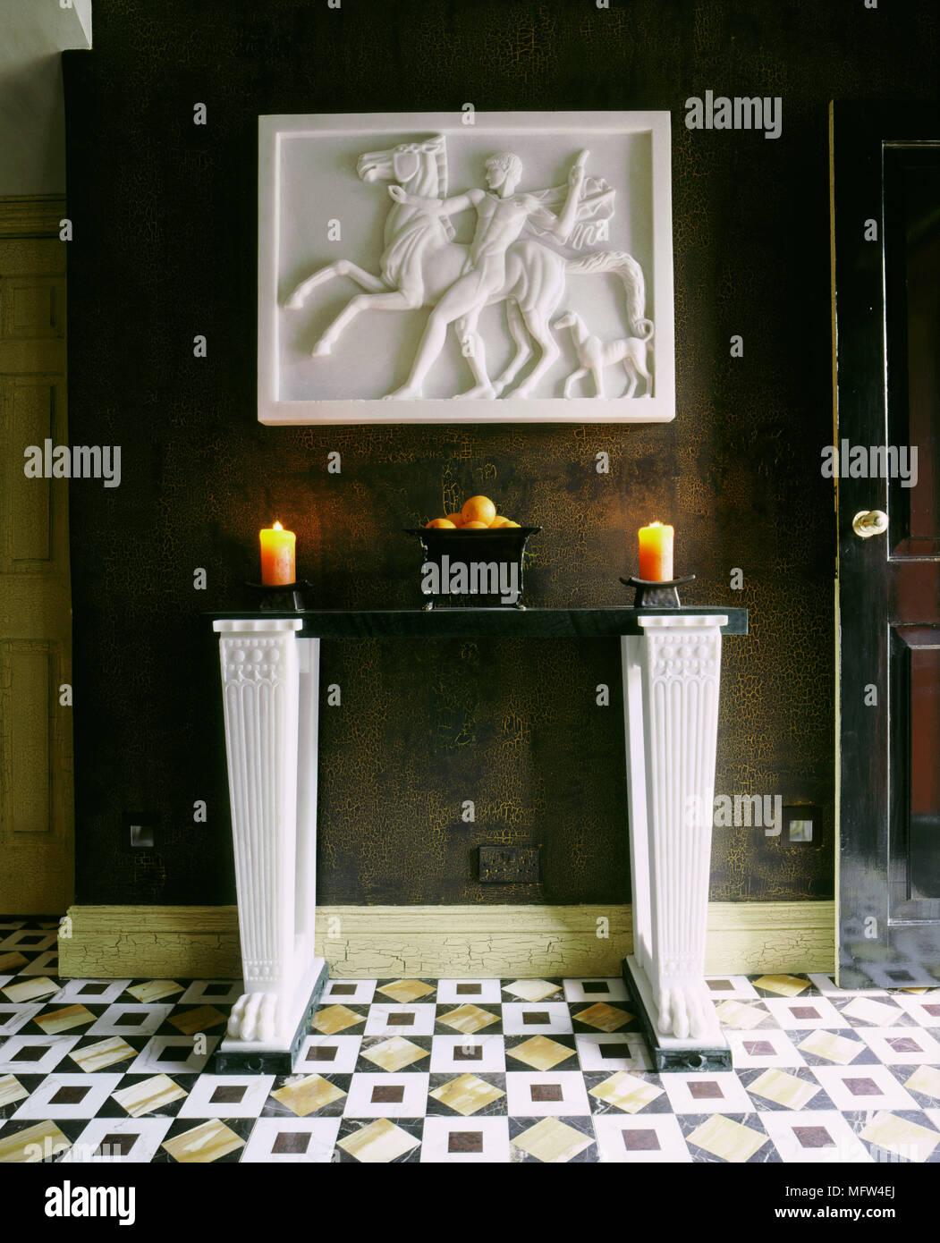 Attractive De Style Classique Couloir Marron Modèle Détail Table De Marbre Carrelage Décoration  Murale En Plâtre Halls Couloirs Intérieurs