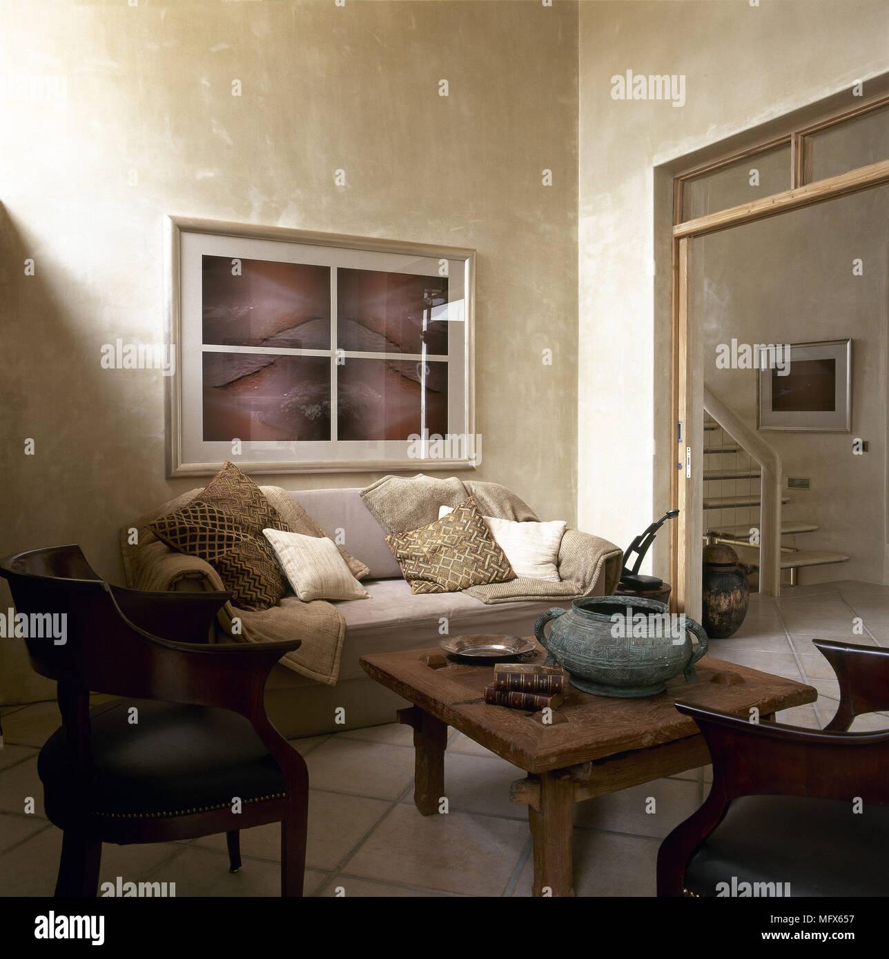 Pays moderne salon canapé table basse rustique en bois ...