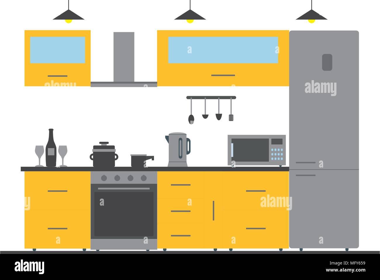 Meuble Micro Onde Et Four cuisine intérieur avec meubles, ustensiles et appareils
