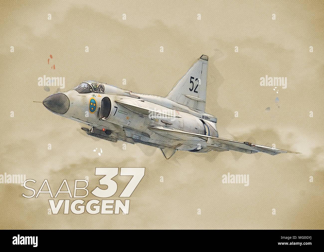Illustration de style art mixte 37 Saab Viggen de poing à travers les nuages Banque D'Images