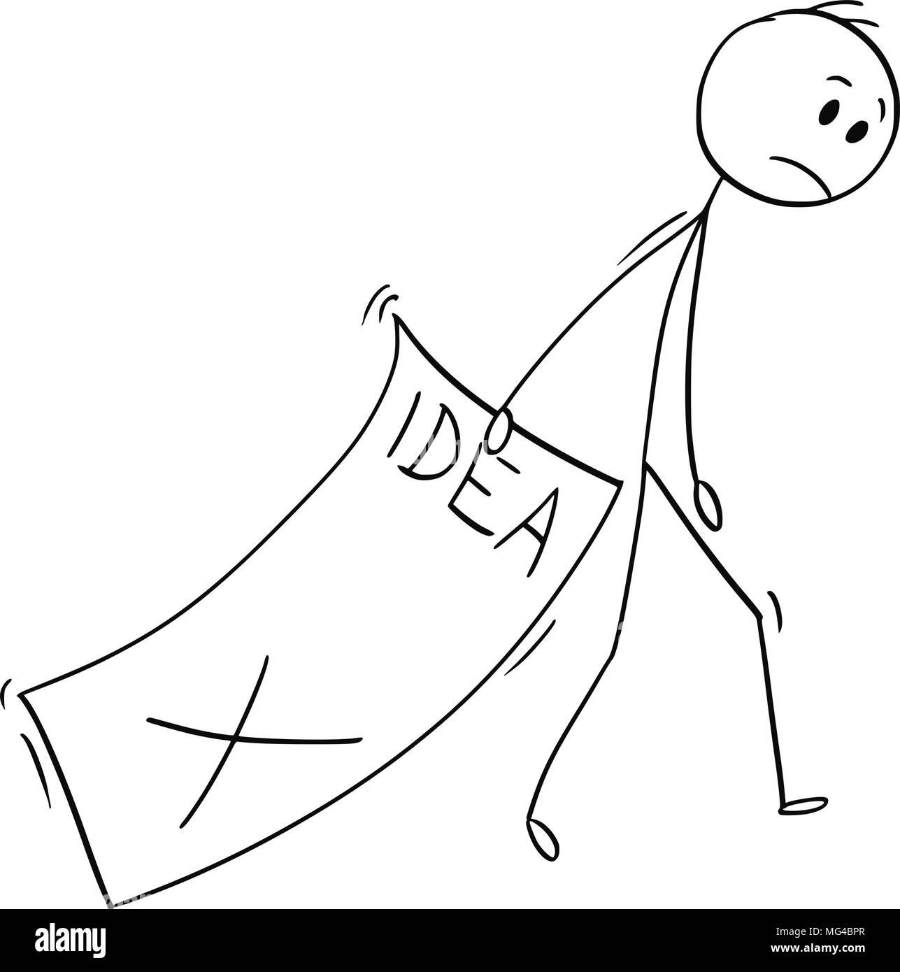 Caricature de l'homme triste des grandes feuilles de papier avec idée rejetée Photo Stock