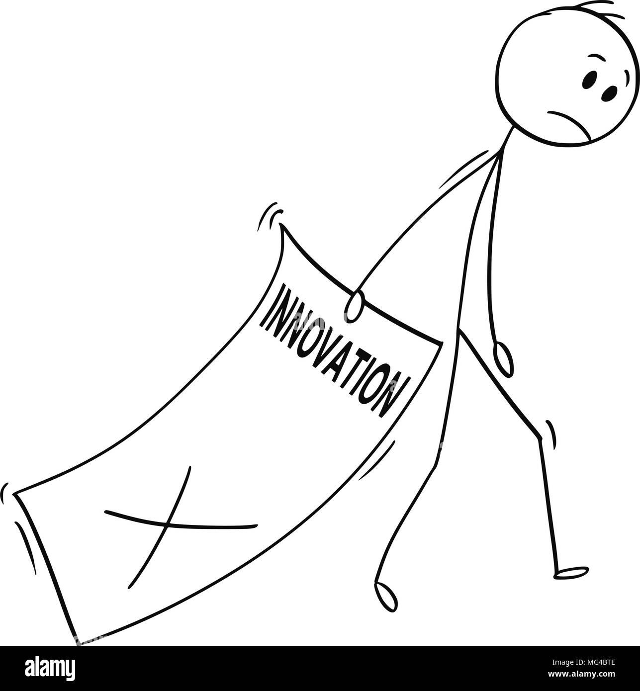 Caricature de l'homme triste des grandes feuilles de papier avec l'innovation rejetée Photo Stock