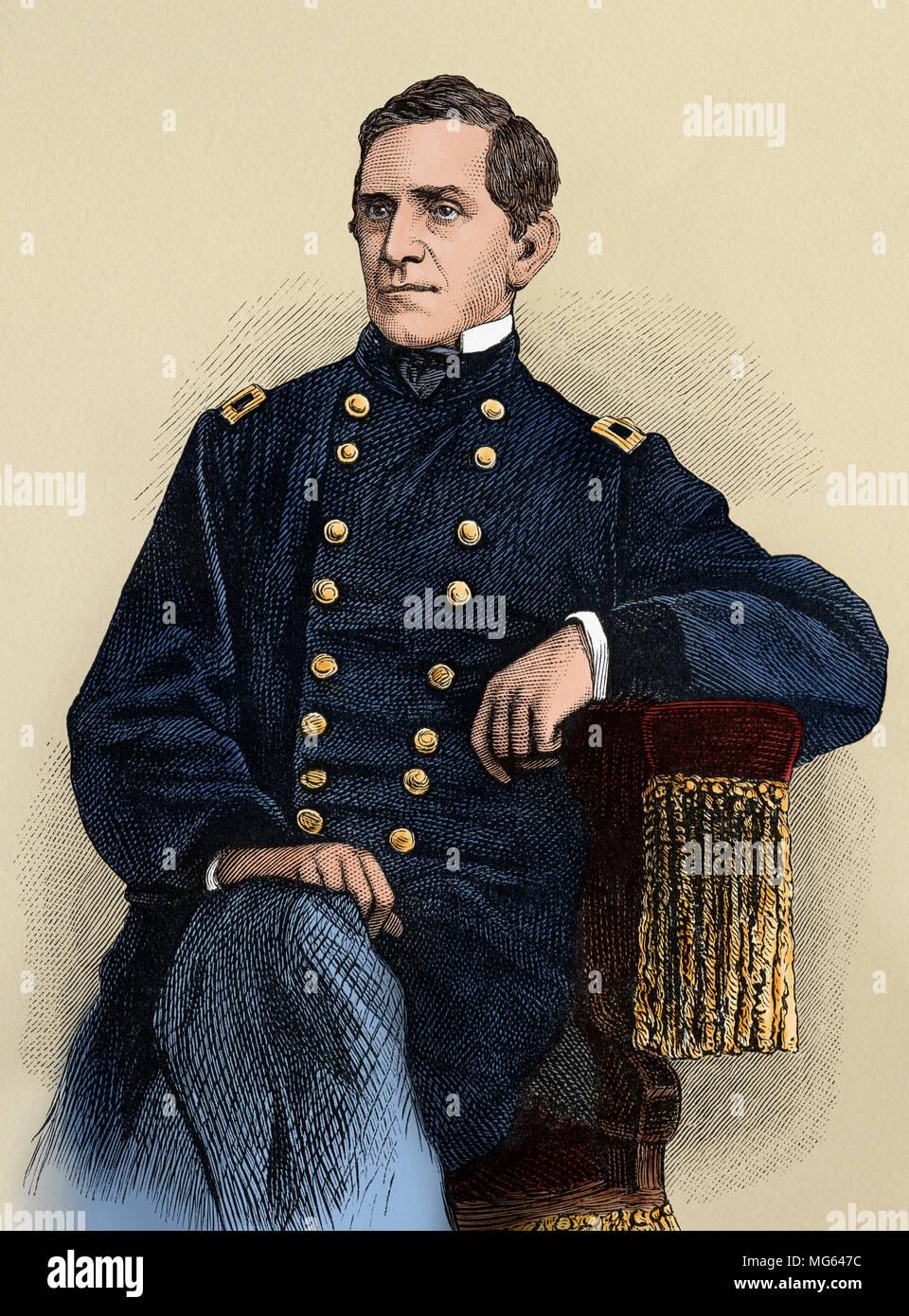 Le Major-général de l'Armée de l'Union Edward Sprigg Canby. Gravure sur bois couleur numérique Photo Stock
