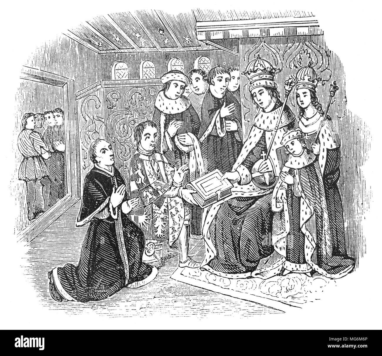 Richard Woodville, comte Rivers (1405 - 1469) d'un noble anglais, et le père de la Reine consort, Elizabeth Woodville présentant William Caxton (1422 - 1491) pour le roi Édouard IV. Caxton était le marchand anglais, l'écrivain et de l'imprimante pensé pour être la première personne à introduire une presse d'impression en Angleterre, en 1476. Le premier livre connu pour avoir été produit il y a une édition de Chaucer, Les Contes de Canterbury. Il a peut-être le premier imprimé versets de la Bible pour être imprimés en anglais, ainsi que des romances chevaleresque, des oeuvres classiques et de l'anglais et l'histoire romaine. Photo Stock