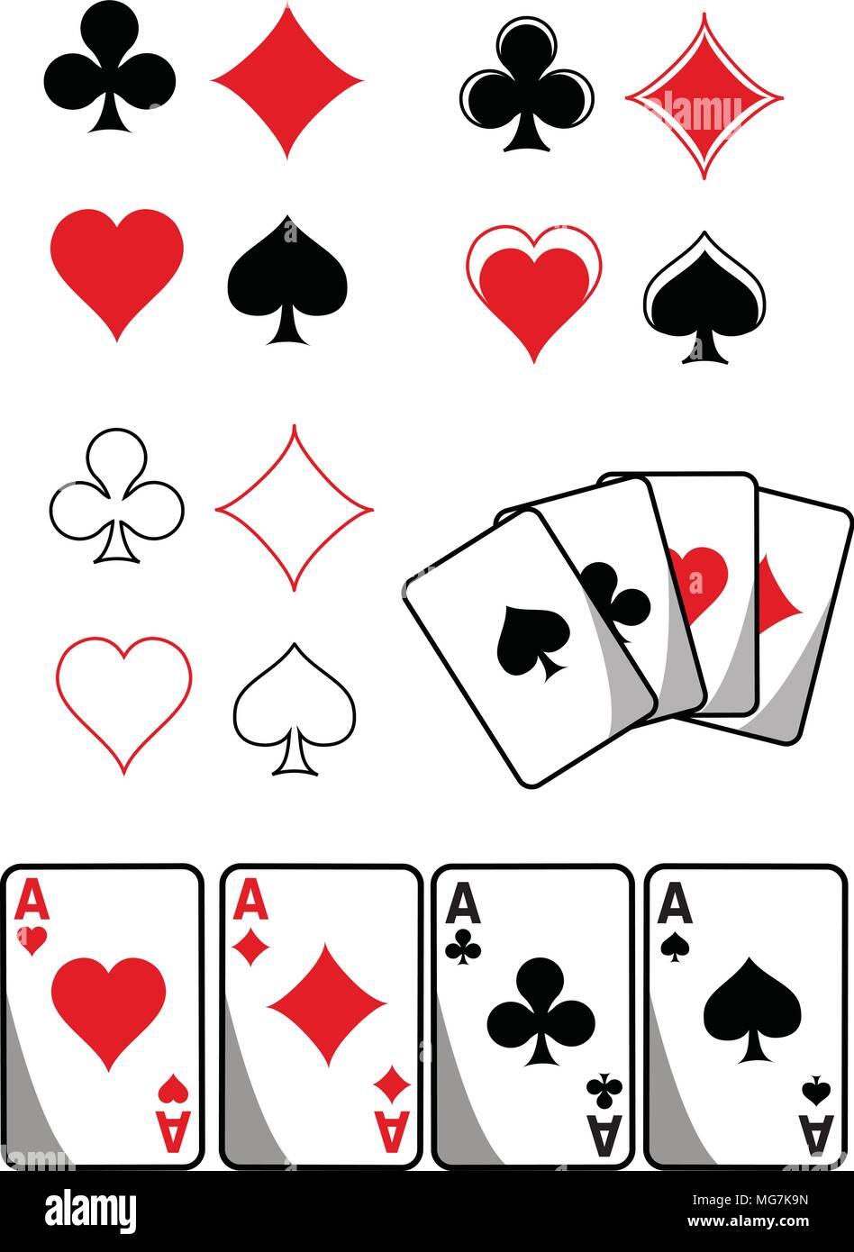 Combinaisons de cartes SVG, les fichiers SVG, Diamond, Cœur, pique, Club, clip art, couper fichier, Silhouette Cameo, Cricut, ScanNCut SVG, cartes à jouer Photo Stock