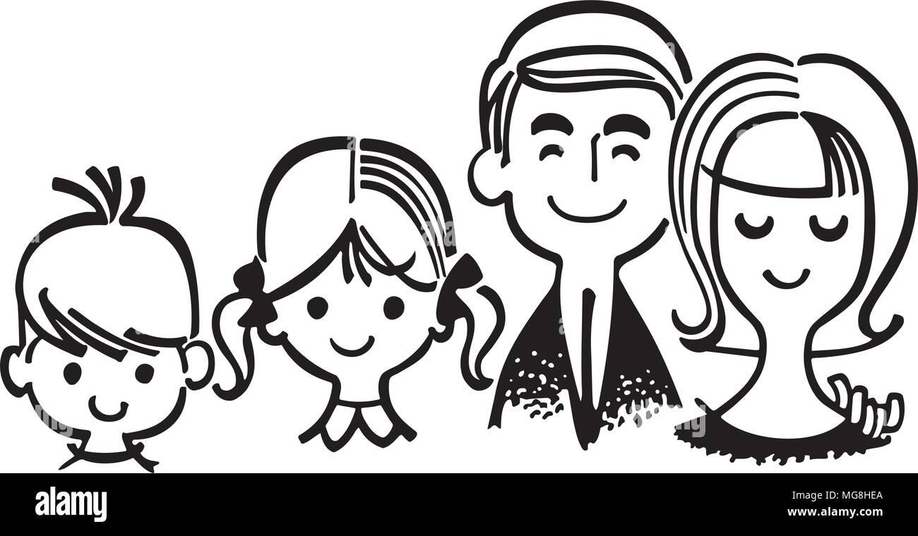 Clipart Famille famille parfaite - retro clipart illustration vecteurs et