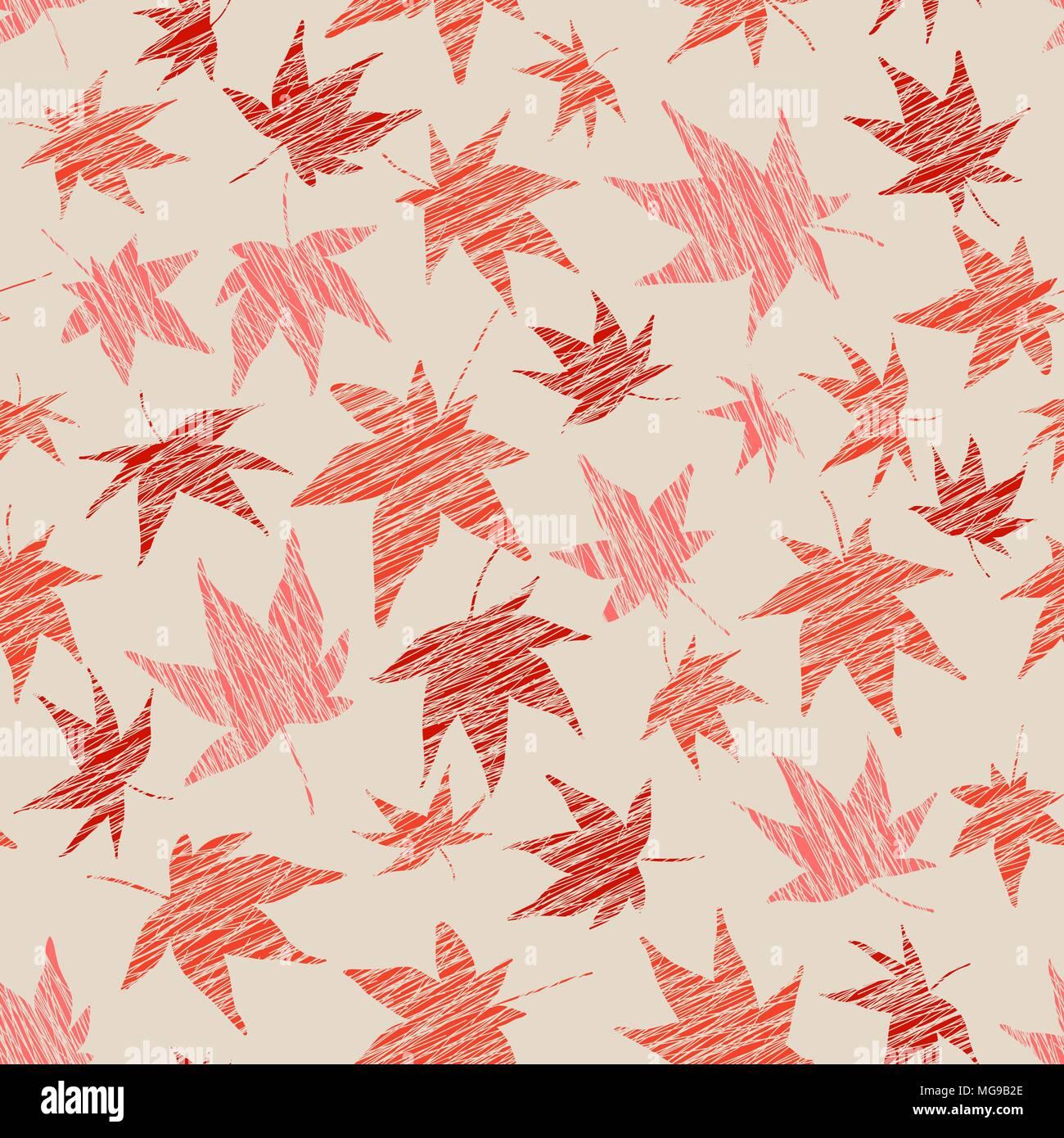 Motif rayé transparent avec feuilles d\'érable. Des couleurs chaudes ...