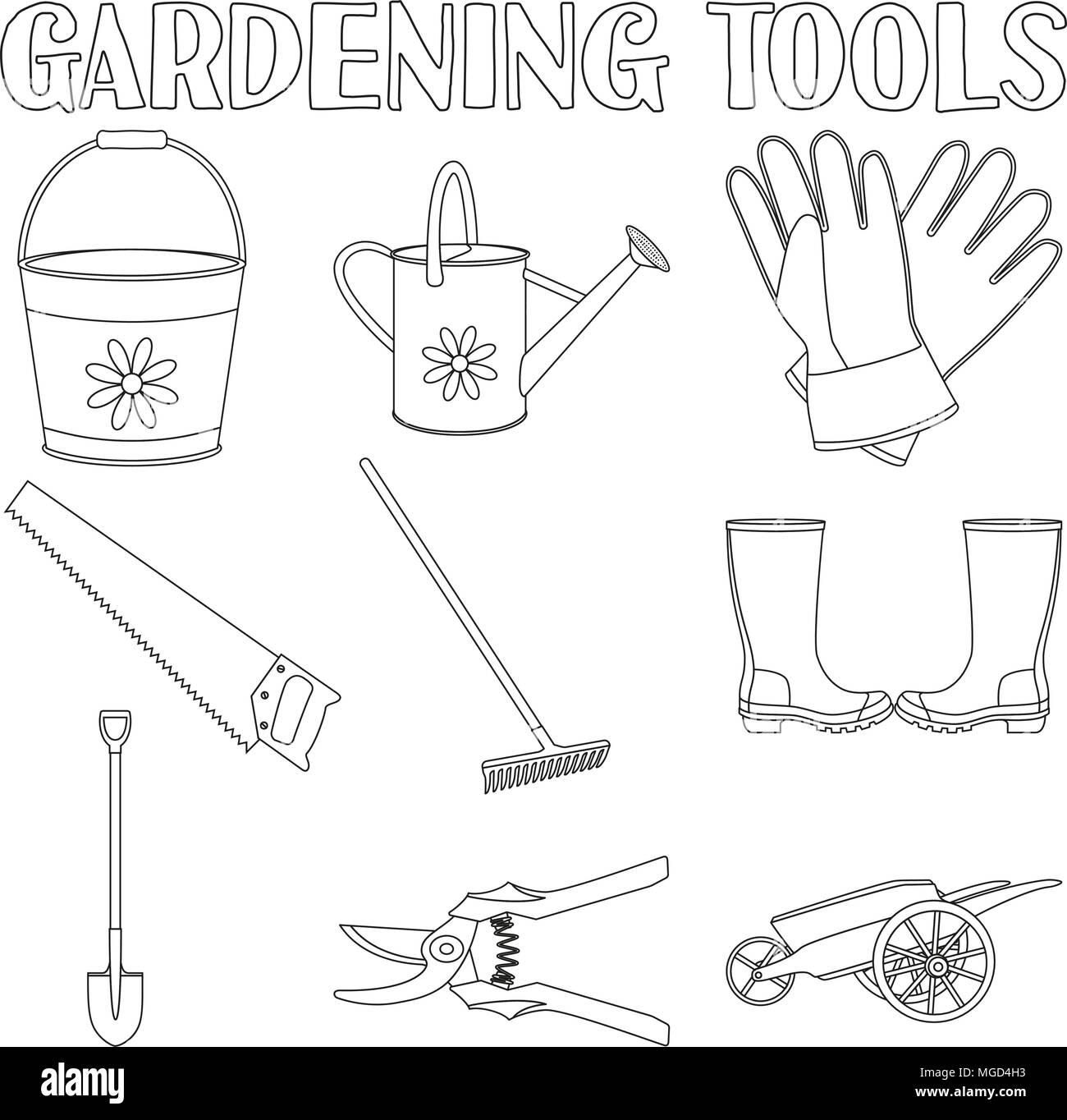 Jardin Noir Et Blanc Icon Set 9 éléments La Page De