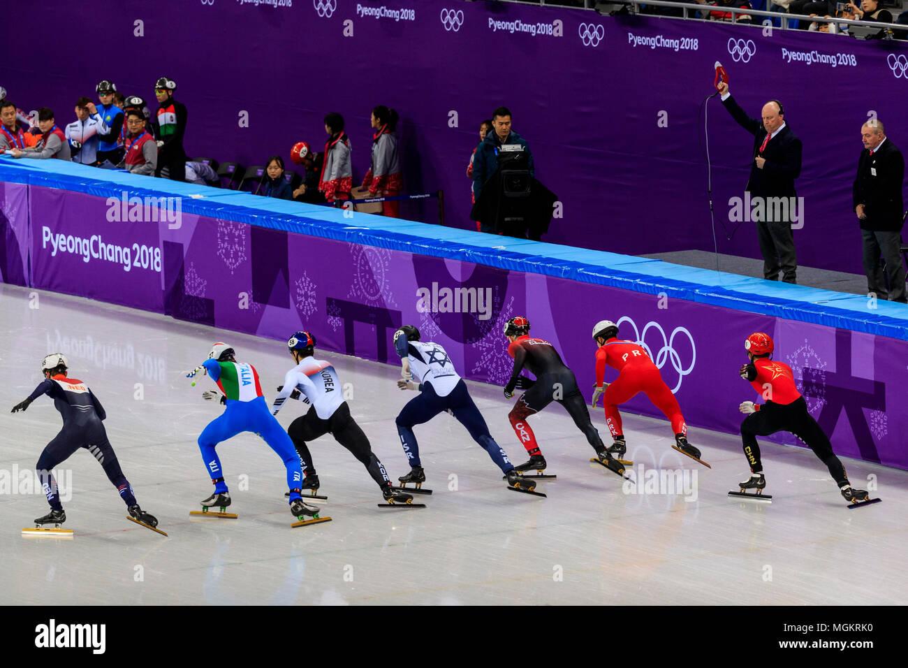 Itzhak De Laat (NED),Tommaso Dotti (ITA), Daeheon Hwang (KOR), Vladislav Bykanov (ISR), Pascal Dion (CAN), chanson de l'ONU Choe (PKR) et Wu Dajing (CHN) à Photo Stock