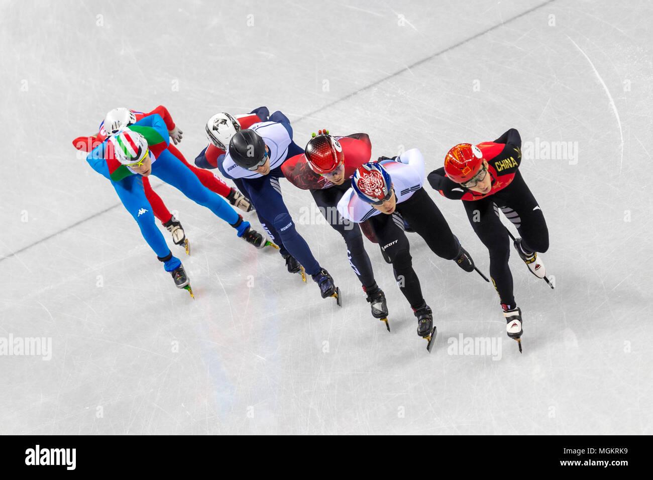Itzhak De Laat (NED),Tommaso Dotti (ITA), Daeheon Hwang (KOR), Vladislav Bykanov (ISR), Pascal Dion (CAN), chanson de l'ONU Choe (PKR) et Wu Dajing (CHN) com Photo Stock