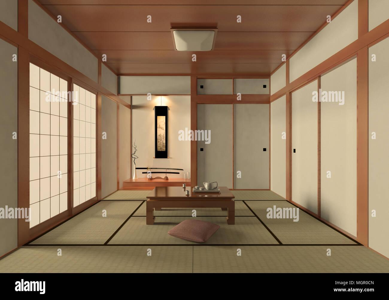 Salon japonais traditionnels et dans l 39 int rieur minimaliste avec tatami japonais shoji et - Salon japonais ...